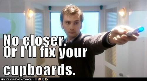 closer,cupboards,David Tennant,doctor who,fix,sonic screwdriver,the doctor