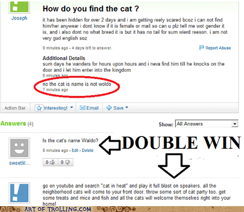 cat lost waldo Yahoo Answer Fails - 5711625216