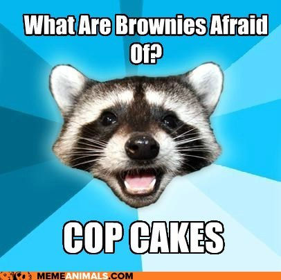 afraid brownies cops cupcakes Lame Pun Coon police puns raccoons - 5711814656