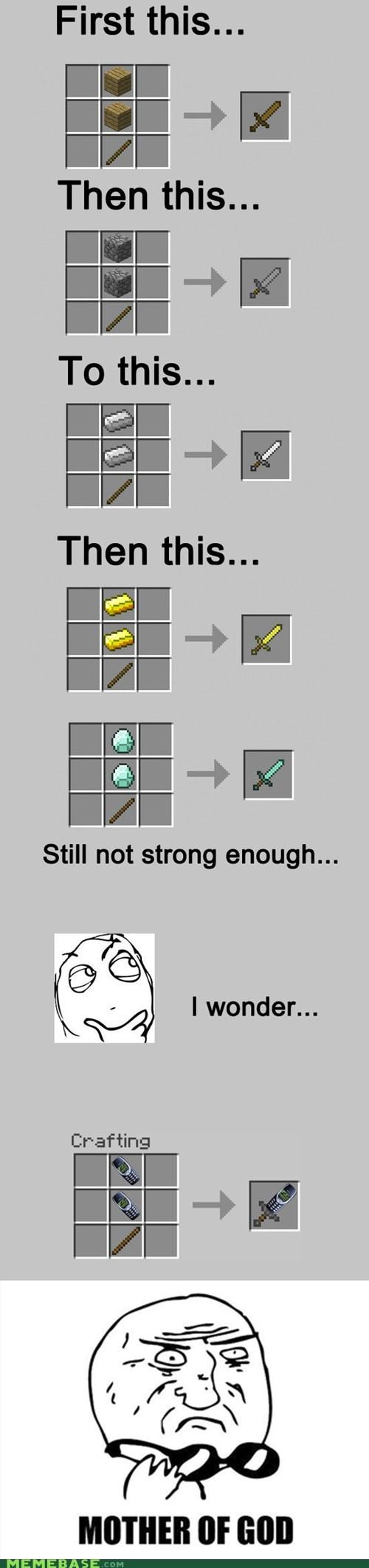diamonds,Memes,minecraft,nokia,sword,video games
