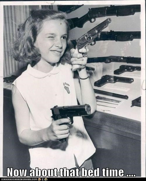 bed time,child,girl,gun,historic lols,kid,take aim,threat,vintage,weapon
