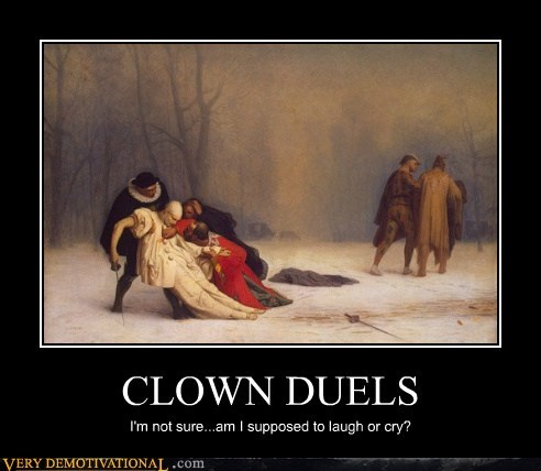 clown,cry,duel,hilarious,laugh