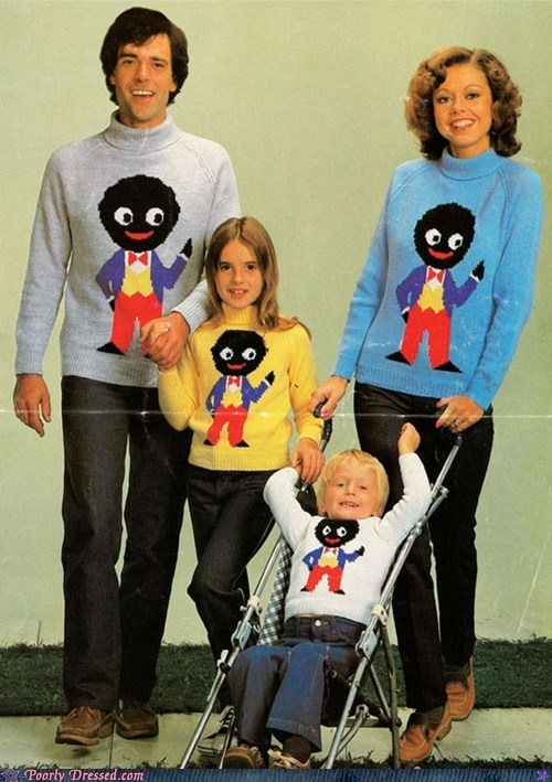 blackface family photos g rated parenting racism sweaters - 5713232128
