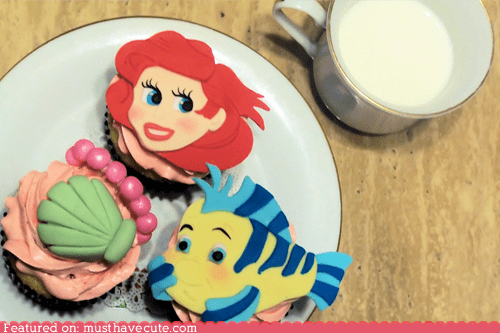 ariel,cupcakes,epicute,flounder,fondant,seashell,The Little Mermaid