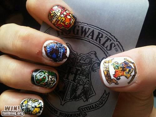 g rated,Harry Potter,Hogwarts,nail art,nail polish,nerdgasm,win