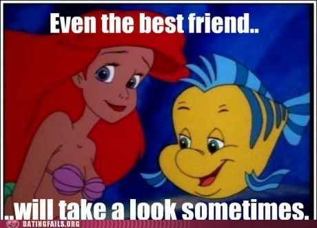 bewbs,flounder,friend zone,Staring,The Little Mermaid