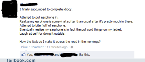 earphones,facepalm,stupid