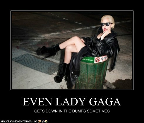 down in the dumps,garbage can,lady gaga,musician,roflrazzi
