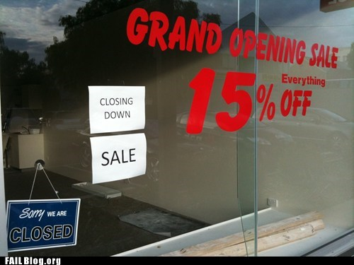 business closed grand opening out of business sale shopping signs - 5716399104