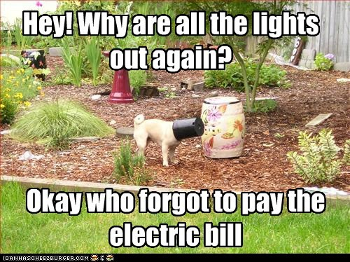 Hey! Why are all the lights out again? Okay who forgot to pay the electric bill