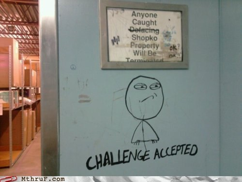 Challenge Accepted,defacing,graffiti,memes IRL,restrictions