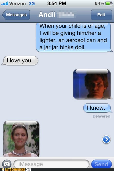 child,Han Solo,jar jar binks,love,parenting,Princess Leia,star wars