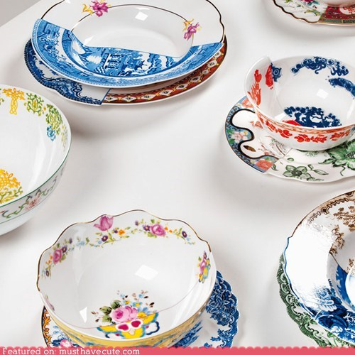 China,dishes,half,mix,patterns,tableware