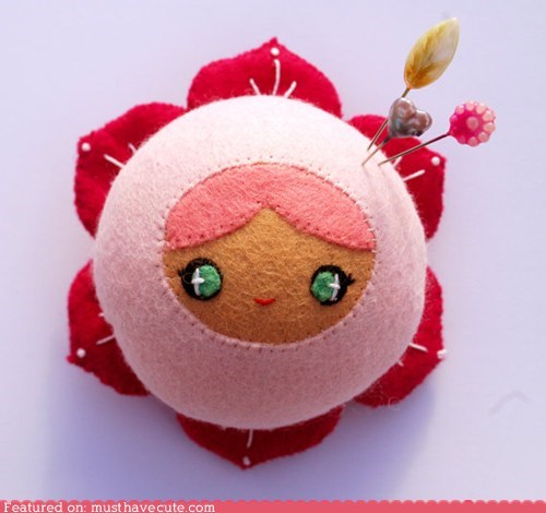face,felt,Flower,handmade,pincushion,pink,smile