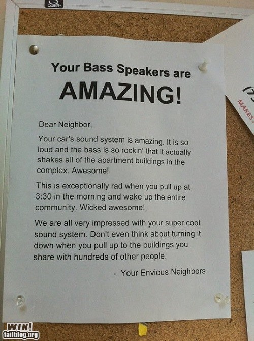 apartment bass car note notice passive aggressive speakers stereo warning - 5719692800