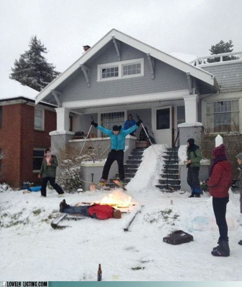 jump,neighbors,ski,snow,stairs