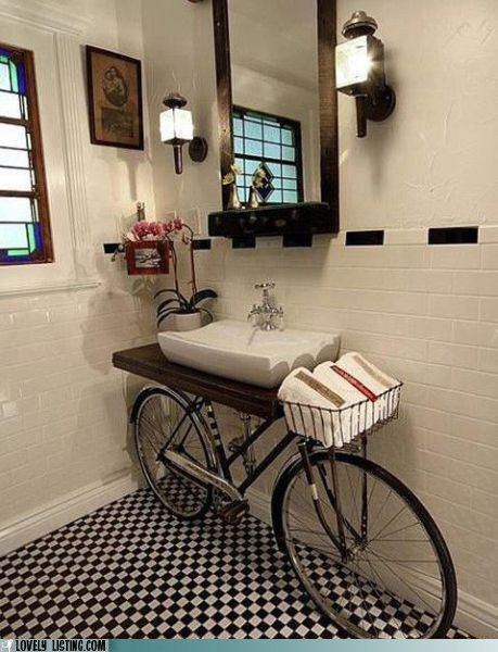 bathroom,bike,sink,towels