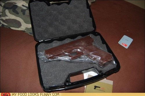 case chocolate dangerous firearm gun weapon