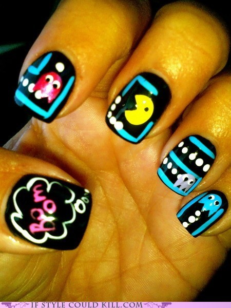 cool accessories,geek chic,nails,pac man,video games