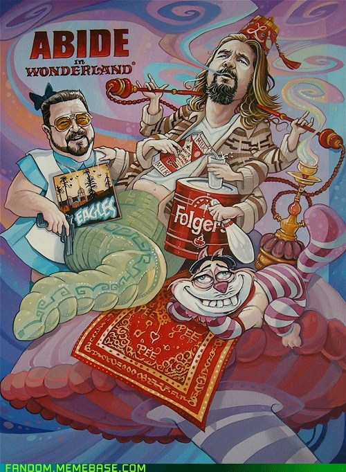 abide in wonderland,alice in wonderland,crossover,Fan Art,movies,the big lebowski