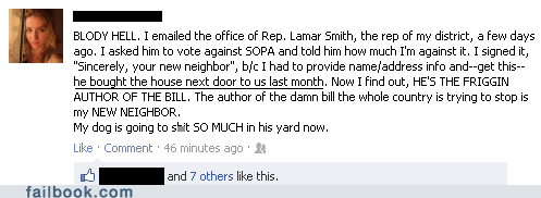 facebook failbook g rated Lamar Smith neighbor oh snap PIPA SOPA
