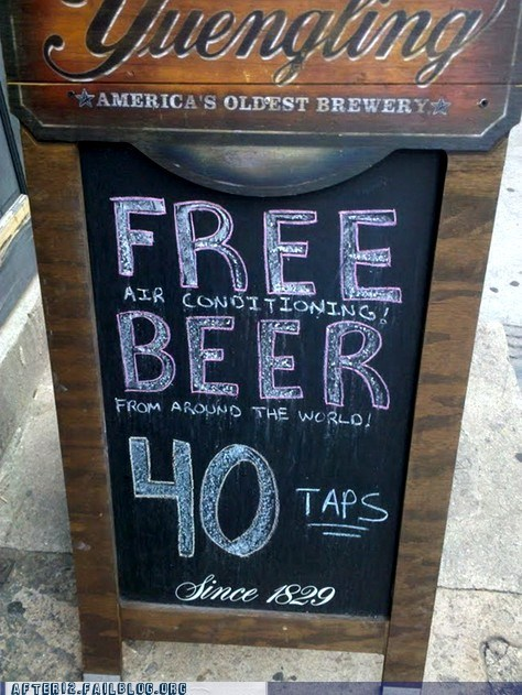 bar,free,free beer,gotcha,lies,pub,sign,yuengling