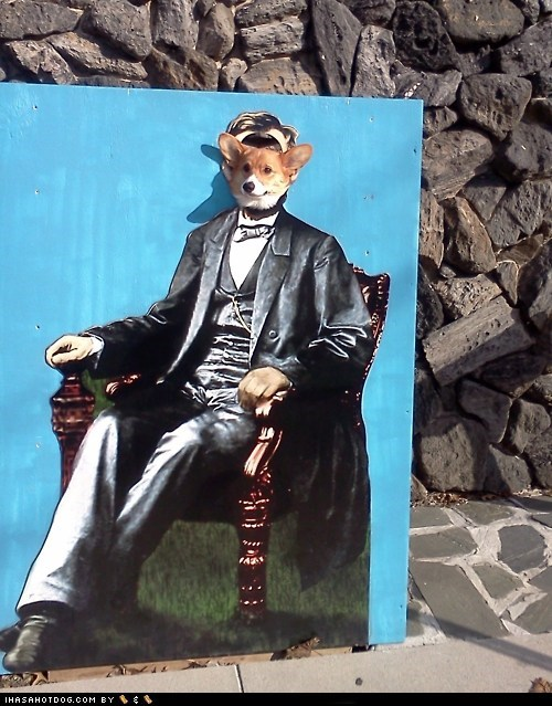 abraham lincoln awesome Badass corgi - 5720702464