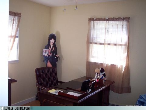 cardboard cutout,creepy,desk,Elvira,Office