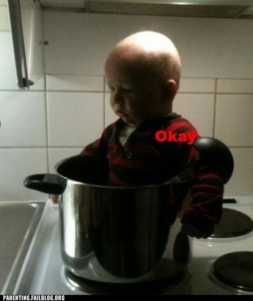 baby in the pot,cooking the baby,Okay