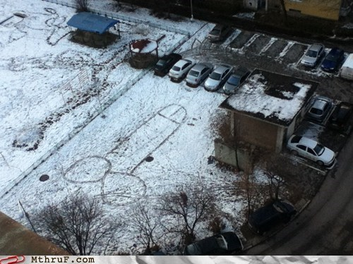 come in on a snow day commuting driving parking parking lot penis humor snow day - 5722772224