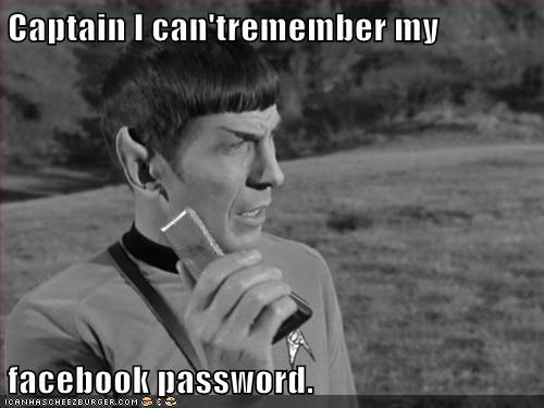 Captain I can'tremember my facebook password.