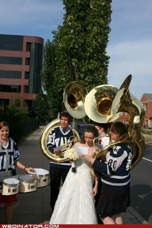 bride,college,funny wedding photos,marching band,Yale