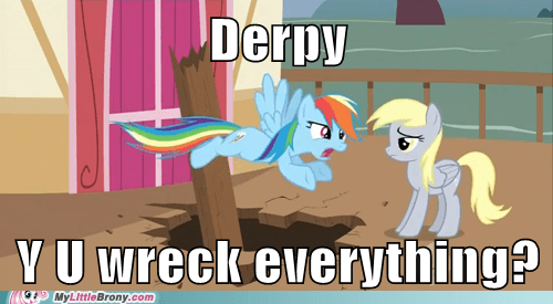 derpy hooves meme rainbow dash y u no rainbow dash zero bucks - 5723615744