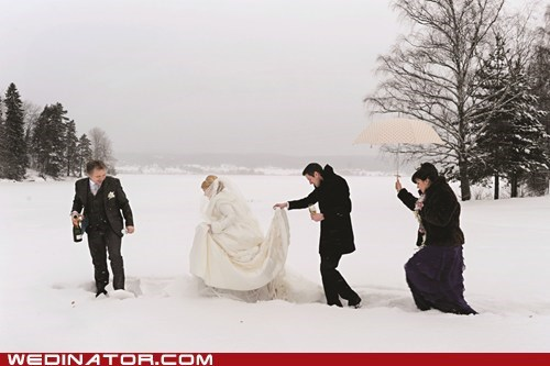 bride funny wedding photos groom Norway oslo snow - 5724086016