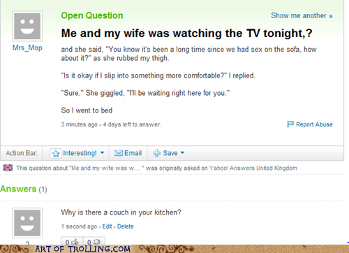 joke,kitchen,wife,women,Yahoo Answer Fails