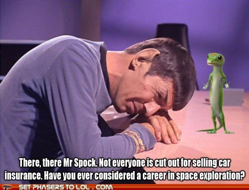 exploration,geico gecko,insurance,Leonard Nimoy,selling,space,Spock,Star Trek