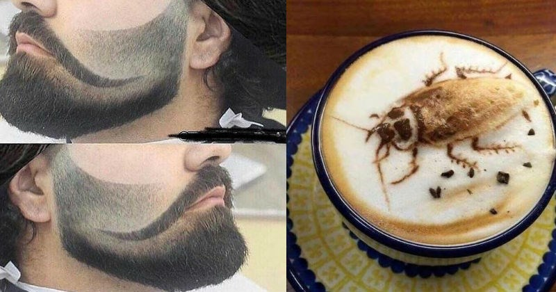 bad taste good execution of a mustache shaved into a beard and cockroach coffee art