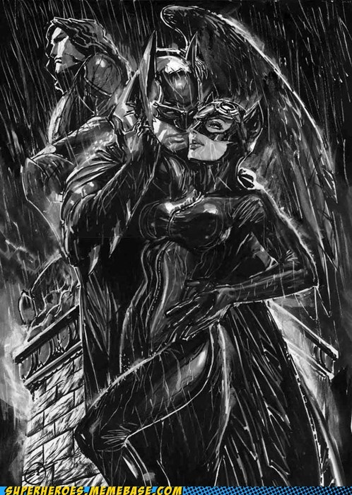 Awesome Art,batman,catwoman,noir,rain,sexy times