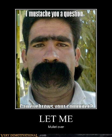eyebrows,hilarious,mullet,mustache,pun
