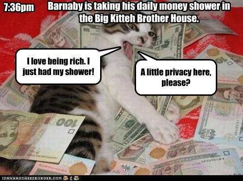 I love being rich. I just had my shower! A little privacy here, please? 7:36pm Barnaby is taking his daily money shower in the Big Kitteh Brother House.