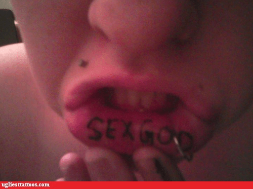 lip tat lower lip sex god - 5728870400