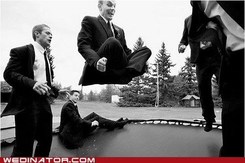 funny wedding photos Groomsmen trampoline