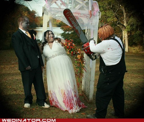 bride,chainsaw,funny wedding photos,groom,horror,pumpkinhead,zombie