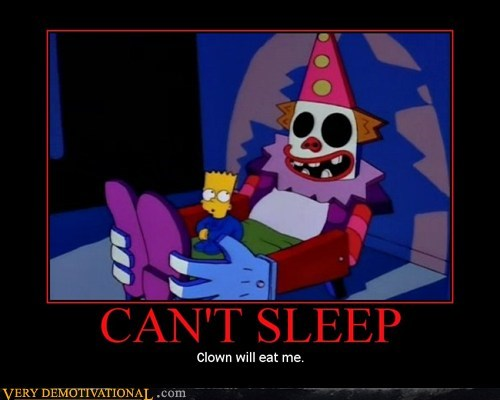 clown,scary,simpsons,sleep,Terrifying