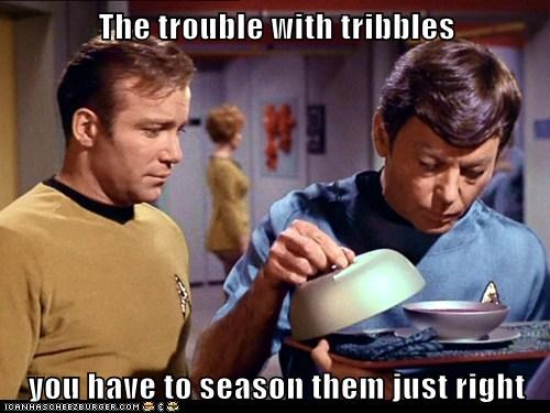 Captain Kirk,cooking,deforrest kelley,McCoy,season,Shatnerday,Star Trek,tribbles,William Shatner