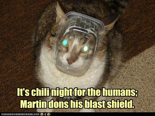 blast,caption,captioned,cat,chili,container,humans,night,prepare,shield