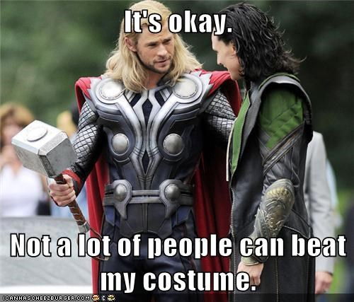 avengers,awesome,chris hemsworth,costume,loki,Okay,people,Thor,tom hiddleston