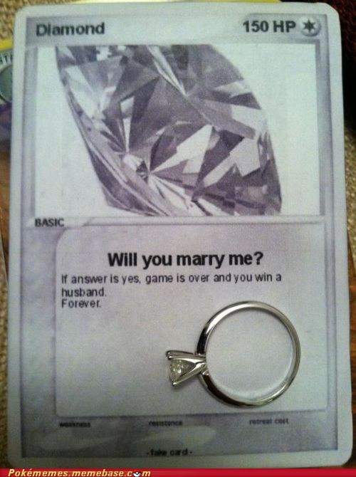 awesome,best of week,diamond,IRL,luvdisc,pokémon card,proposal,will you marry me