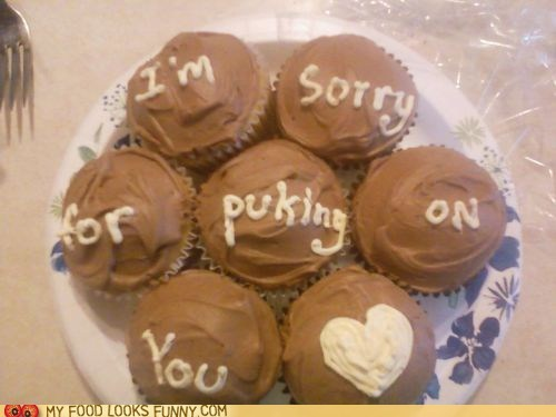 apology cupcakes frosting puke sorry - 5733172224