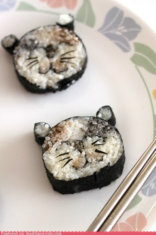 cat epicute face kitty nori rice roll smile sushi - 5733192704